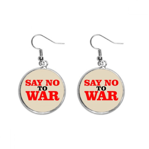Say No to War World Love Peace World Ear Dangle Silver Drop Earring Jewelry Woman
