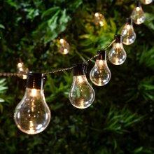 Outdoor Solar-Powered 20-Bulb Retro String Lights