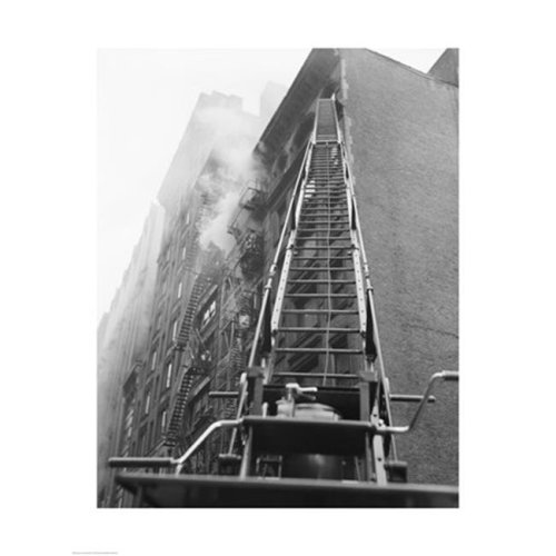 PVT-Superstock  Fire engine with ladder up burning building -18 x 24 Poster Print