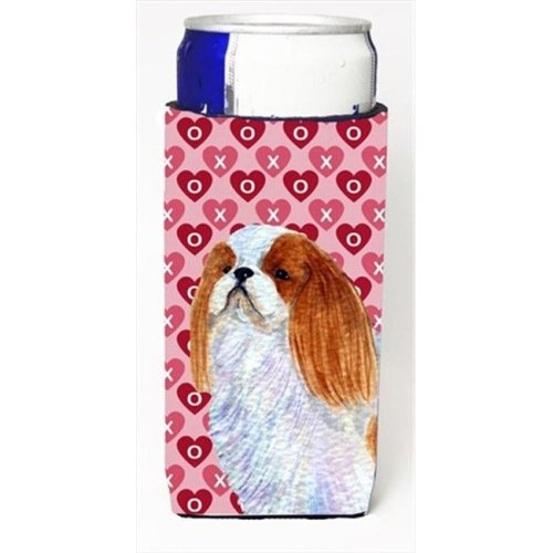 English Toy Spaniel Hearts Love And Valentines Day Portrait Michelob Ultra bottle sleeves For Slim Cans
