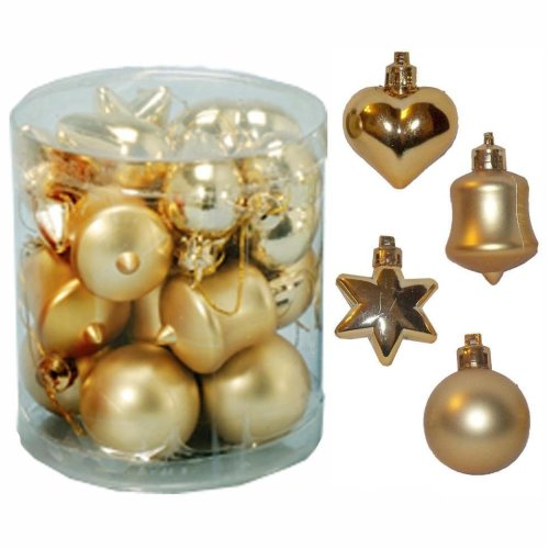 Christmas Tree Decoration 18 Multi Pack Star Heart Bell Baubles - Gold