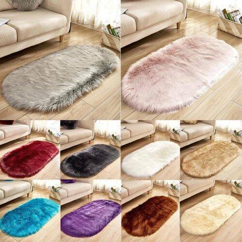 Shaped Faux Fur Fluffy Anti-Skid Area Rug Oval Floor Carpet Bedroom Floor Mat