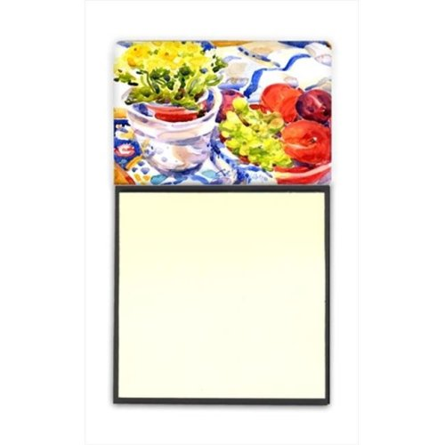 Apples, Plums and Grapes with Flowers Refiillable Sticky Note Holder or Postit Note Dispenser, 3 x 3 In.
