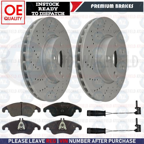 FOR MERCEDES E-CLASS AMG SPORT FRONT DRILLED COATED BRAKE DISCS PADS SENSORS 322