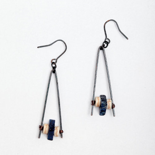 Vintage Blue Color Natural Stone Drop Earrings Triangle Dangle Earring