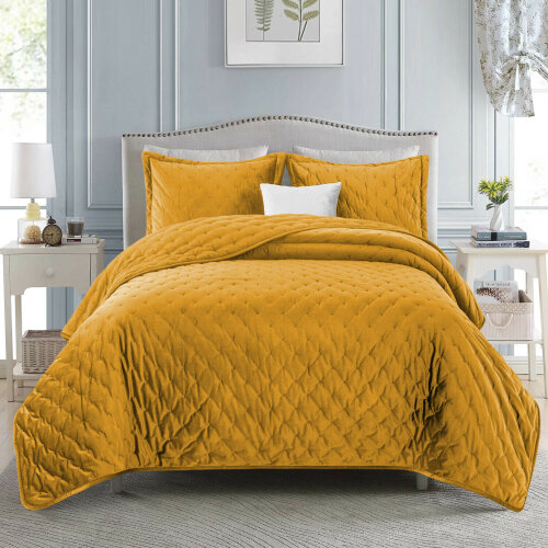 (Ocher, King) 3pc Imperial Rooms Velvet Bedspread Set