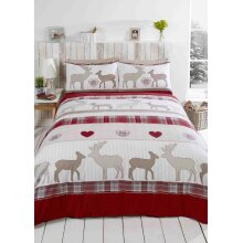 St Andrews Duvet Cover Set, 100% Brushed Cotton, Red, Double