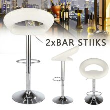 2 Swivel PU Bar Stools Chair Eclipse Leather Chrome Kitchen Gas