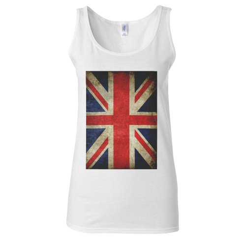 (XX-Large, White) Union Jack Flag United Kingdom Vintage White Women Vest Tank Top