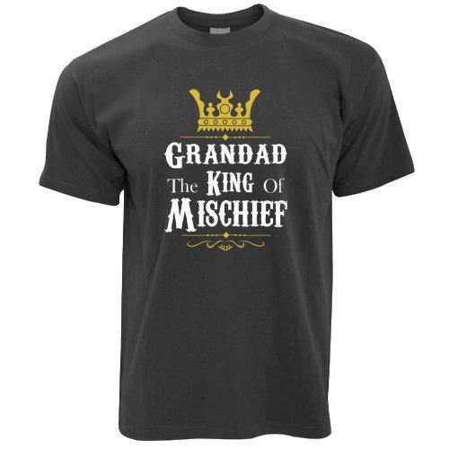 Father's Day T-Shirt - Grandad, The King Of Mischief Novelty Slogan Dad Joke