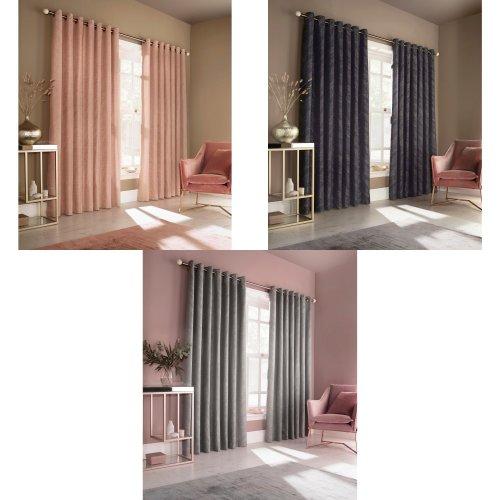 Furn Himalaya Jacquard Design Eyelet Curtains (Pair)