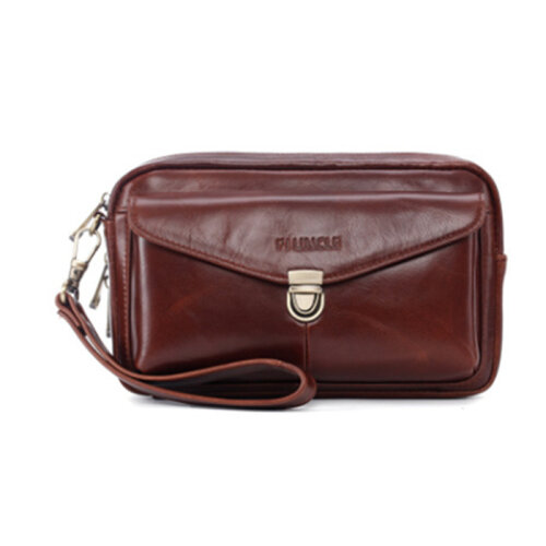 Men Genuine Leather Large Capacity Clutches Bags Business Bag For Office