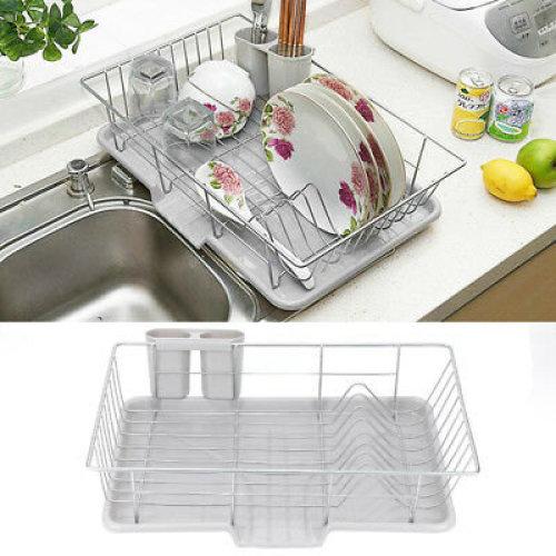 Dish Drainer Metal Wire Cutlery Draining Holder Plate Rack Kitchen