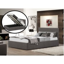 5ft King Size Istanbul Ottoman Grey Bed with 15cm Memory Foam Mattress