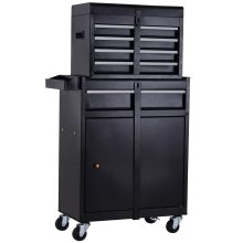 DURHAND 2 in 1 Metal Tool Cabinet Storage Box Cabinet 5 Drawers Pegboard Chest