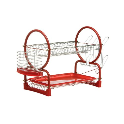 2 Tier Dish Drainer with Drip Tray - Red