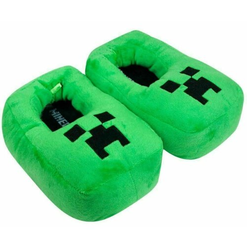 Creeper Kids/Boys 3D Green Slipper, Plush Novelty Footwear Slip On for Kids