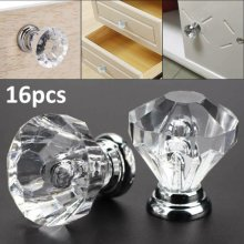 16pcs Diamond Crystal Glass Door Drawer Cabinet  Kitchen Handle