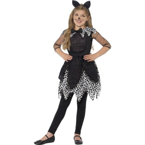 Smiffy's Children's Deluxe Midnight Cat Costume, Dress, Tail & Cat Ear - Dress -  dress cat costume fancy girls halloween outfit deluxe midnight kids