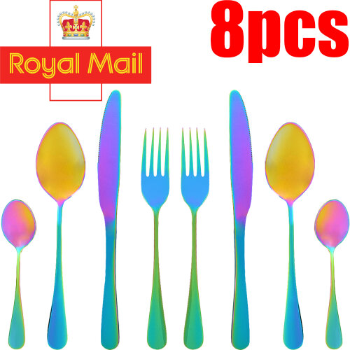 Stainless Steel Cutlery Set 8 piece Dinner Set Rainbow Iridescent Fork