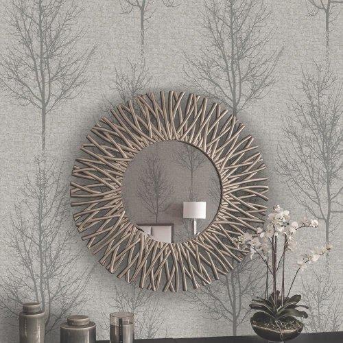 Holden Hadrian Tree Pattern Wallpaper Stone Brick Effect Metallic Glitter Vinyl[SILVER 35462]