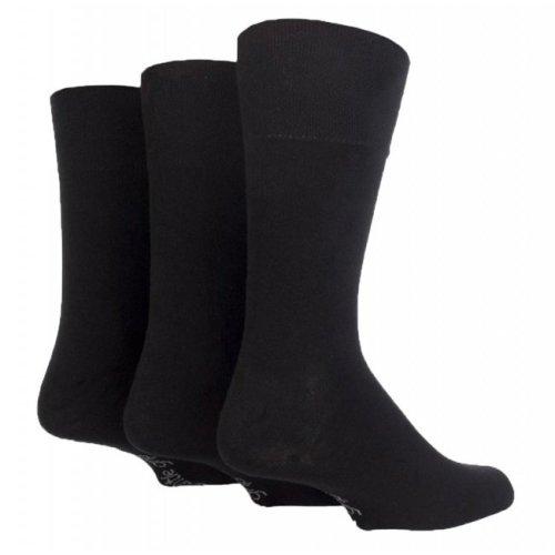 3 Pairs Mens Plain Black Gentle Grip Cotton Everyday Socks, UK Size 6-11