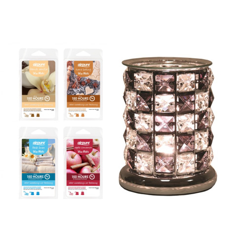 Aroma Electric Wax Melt Burner -Black Check Crystal Includes Pack of Wax Melts