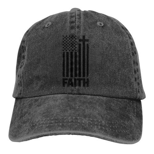 (Black) Distressed Black USA Flag Denim Baseball Caps