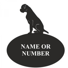 Boxer Dog Decorative Metal Oval House Plaque Sign