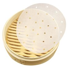 100x Perforated Steamer Round Baking Paper Air Fryer Liners Non Stick Cook Cover