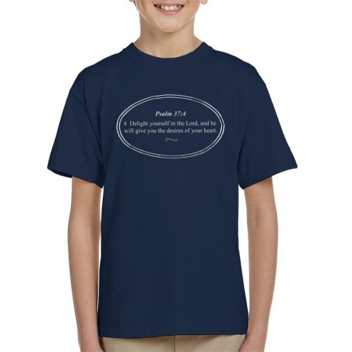 (Medium (7-8 yrs), Navy Blue) Religious Quotes Delight Yourself In The Lord Kid's T-Shirt