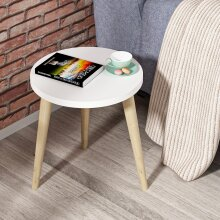 P&W Side Table Scandinavian MDF Small Round End Table Coffee Table