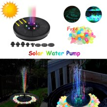 Solar Powered Water Pump Watering Water Fountain for Pool Fountains Pond with LED Lights Complimentary glowing pebbles