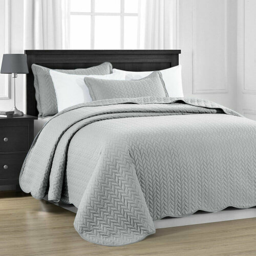 Luxury Quilted Bedspread Throw Set 3 pCs Bed Cover
