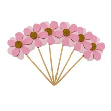 6PC Flicker Flower Petal Cake Toppers Pink