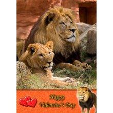 "Lion Valentine's Day Greeting Card 8""x5.5"""