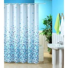KAV - Shower Curtain Mould and Mildew Resistant Solid White, 180 x 180 cm (71 x 71 Inch) | 100% Polyester (Mosaic Blue)