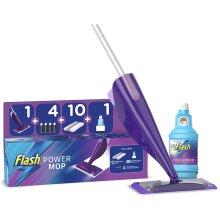 Flash Powermop Starter Kit Mop + 10 Absorbing Refill Pads + 500 ml Cleaning Solution + 4 Batteries Fresh