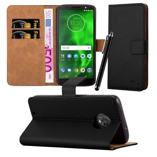 For Moto G6 Premium Leather Wallet Folio Case