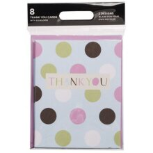 WHSmith Multi Dots Thank You Blank Cards + Envelopes All Occassions Pack Of 8