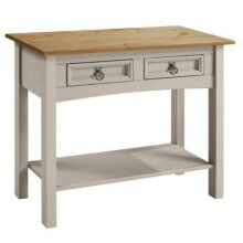 Corona Console Table Grey Wax 2 Drawer Solid Pine Furniture living