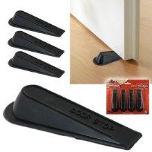 4 Pack Large Rubber Door Stopper Wedge Door Block Jam Catcher Office Home Black