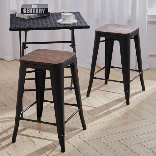 2pcs Metal Industrial Tolix Style Barstool Cafe Chairs Counter Seats