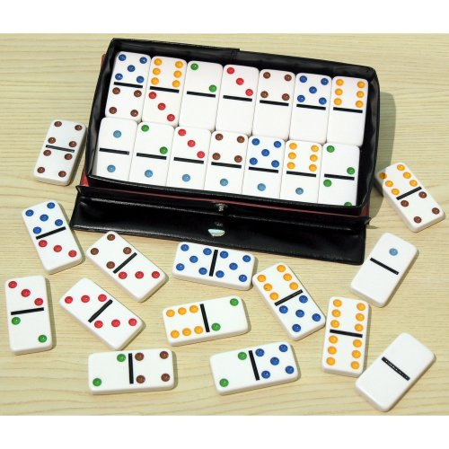 Plastic Double Six Dominos with Coloured Spots