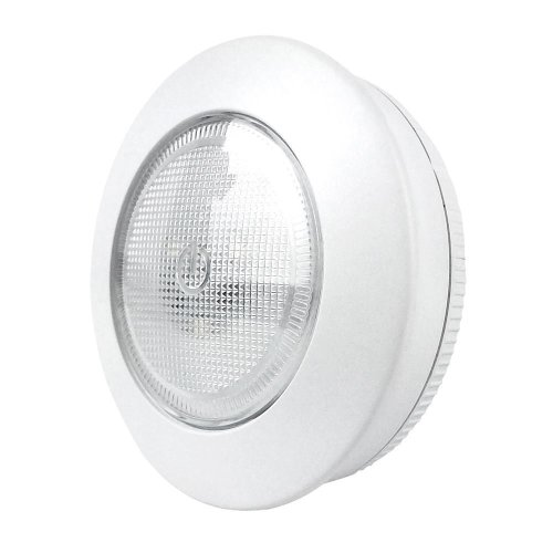 2 Xtralite Omni Small 7.5cm 3 LED White Tap Light, Cordless Battery Powered With 3M Command Strips, 40 Lumens Of Light