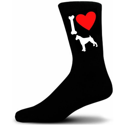 Mens Black Novelty Boxer Socks - I Love My Dog Socks