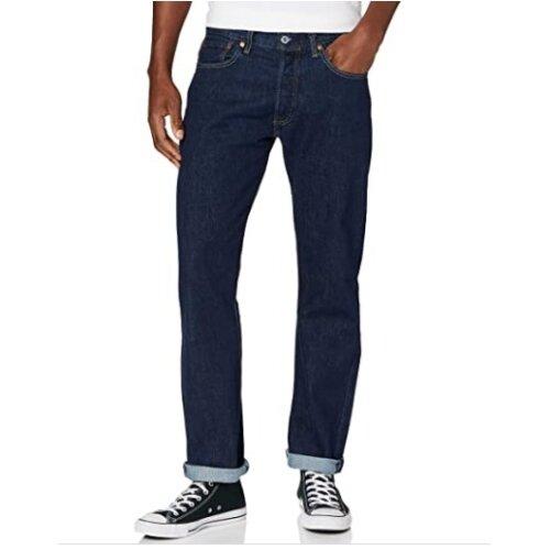 Mens Levi's 501 Original Fit Denim Jeans Dark Blue