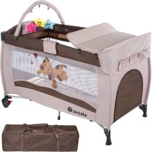 Travel cot dog with changing mat and play bar brown