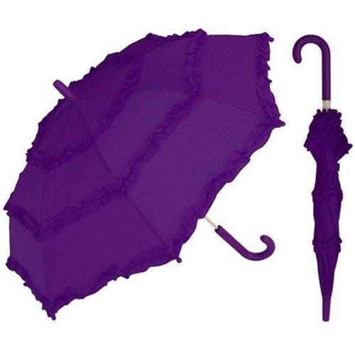 RainStoppers W106CHPUR 32 in. Childrens Purple Umbrella with Ruffles, 3 Piece