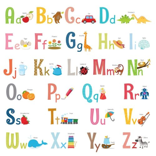 Decowall DW-1701S Alphabet with Pictures Kids Wall Stickers Wall Decals Peel and Stick Removable Wall Stickers for Kids Nursery Bedroom Living Room...